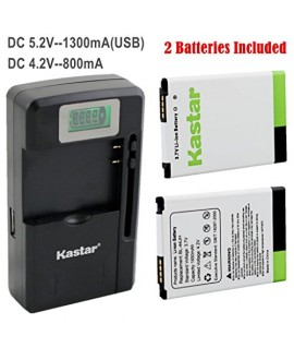Kastar BL-44JH Battery (2-Pack) and intelligent mini travel Charger ( with high speed portable USB charge function) for LG Optimus L7, P700, P750, LG Mach LS860, LG Motion 4G MS770, Splendor/Venice Fit BL-44JH, BL44JH, EAC61839001, EAC61839006 --Supper Fa