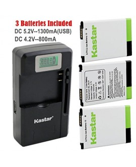 Kastar BL-44JH Battery (3-Pack) and intelligent mini travel Charger ( with high speed portable USB charge function) for LG Optimus L7, P700, P750, LG Mach LS860, LG Motion 4G MS770, Splendor/Venice Fit BL-44JH, BL44JH, EAC61839001, EAC61839006
