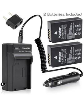 Kastar Battery (X2) & AC Travel Charger for Nikon EN-EL20, ENEL20, EN-EL20a and Nikon Coolpix A, Nikon 1 AW1, 1 J1, 1 J2, 1 J3, 1 S1, 1 V3, and Blackmagic Pocket Cinema Cameras