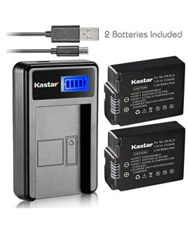 Kastar Battery (X2) & LCD Slim USB Charger for Nikon EN-EL21, ENEL21, MH-28 and Nikon 1 V2 Camera