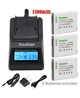 Kastar Ultra Fast Charger Kit and Battery (3-Pack) for Olympus LI-90B, LI-92B, UC-90 and Olympus SH-1, SH-50 iHS, SH-60, SP-100, SP-100EE, Tough TG-1 iHS, Tough TG-2 iHS, Tough TG-3, XZ-2 his Cameras