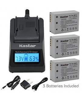Kastar Ultra Fast Charger(3X faster) Kit and Battery (3-Pack) for Canon NB-7L, CB-2LZE work with Canon PowerShot G10, PowerShot G11, PowerShot G12, PowerShot SX30 IS Digital Cameras [Over 3x faster than a normal charger with portable USB charge function]