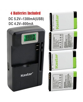Kastar BL-5C Battery (4-Pack) and intelligent mini travel Charger ( with high speed portable USB charge function) for NOKIA 1100,2112,2270,2280,2285,2300,2600,2850,3100,3105,3120,3600,3620,3650,3660,5140,6108,6280,5030,5130,6030,6085,6086,6230,6230i,6267,