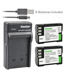 Kastar Battery (X2) & Slim USB Charger for Olympus BLM-1, BLM-01, PS-BLM1 and Olympus C-5060, C-7070, C-8080, E-1, E-3, E-30, E-520, EVOLT E-300, E-330, E-500, E-510 Camera
