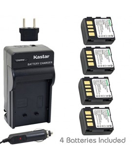 Kastar BN-VF707 Battery (4-Pack) and Charger Kit for JVC GZ-DF240, GZ-DF270, GZ-DF470, GZ-MG27, GZ-MG37, GZ-MG39, GZ-MG40, GZ-MG47, GZ-MG50, GZ-MG57, GZ-MG67, GZ-MG70, GZ-MG77, GZ-MG500, GZ-MG505