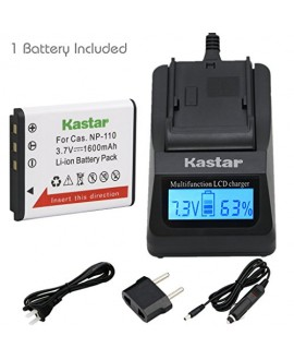Kastar Fast Charger + CNP110 Battery (1-Pack) for Casio NP-110, NP110 and Casio Exilim EX-FC200S, EX-Z2000, EX-Z3000, EX-ZR10, EX-ZR15, EX-ZR20 Camera
