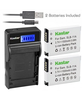Kastar Battery (X2) & SLIM LCD Charger for Samsung SLB-11A SLB11A and Samsung WB600 WB650 WB700 WB1000 WB2000 CL65 CL80 EX1 HZ25W HZ30W HZ35W HZ50W ST1000 ST5000 ST5500 TL240 TL320 TL350 TL500 Cameras