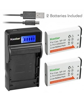 Kastar Battery (X2) & SLIM LCD Charger for Casio NP-90 NP90 work with Casio Exilim EX-H10 EX-H15 EX-H20G EX-H20GBK EX-H20GSR EX-FH100 EX-FH100BK Cameras