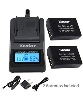 Kastar Ultra Fast Charger(3X faster) Kit and Battery (2-Pack) for Canon LP-E17 Battery LC-E17, LC-E17C Charger and Canon EOS M3, EOS Rebel T6i, EOS Rebel T6s, EOS 750D, EOS 760D, EOS 8000D, Kiss X8i