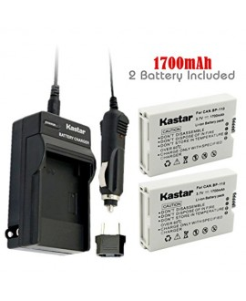 Kastar BP110 Battery (2-Pack) and Charger Kit for Canon BP-110 and Canon VIXIA HF R20, HF R21, HF R200, HF R26, HF R28, HF R206, XF105 Cameras