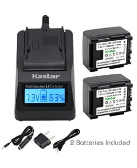 Kastar Ultra Fast Charger(3X faster) Kit and Battery (2-Pack) for Canon BP-809, BP-819, BP-827 Work with Canon FS10, FS11, FS100, FS21, FS22, FS200, FS31, FS300, VIXIA HF10, HF11, HF100, HF20, HF200, HF S10, S100, S20, S21, S200, HG20, HG21, HG30, G10, M3