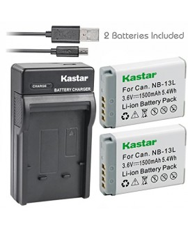Kastar Battery (X2) & Slim USB Charger for Canon NB-13L, NB13L and Canon PowerShot G5 X, Canon PowerShot G7 X, Canon PowerShot G9 X, Canon SX620 HS, Canon SX720 HS Digital Camera