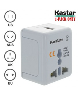 Kastar Safety and Ultra Small Size Universal World-Wide Travel Adapter, with 1000mA USB Charging Port, All-in-one AC Power Plug For USA EU AUS UK (White Color)