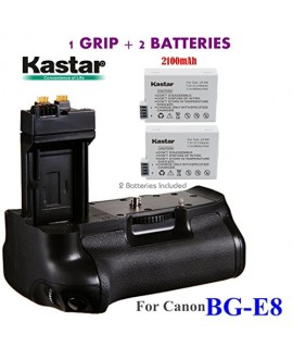 Kastar Pro Multi-Power Vertical Battery Grip (Replacement for BG-E8) + 2x LP-E8 Replacement Batteries for Canon EOS 550D EOS 600D EOS 650D EOS 700D and Rebel T2i T3i T4i T5i SLR Cameras