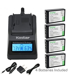 Kastar Ultra Fast Charger(3X faster) Kit and Battery (4-Pack) for Olympus BLS-1, PS-BLS1 work for Olympus E-400 E-410 E-420 E-450 E-600 E-620 E-P1 E-P2 E-P3 E-PL1 E-PL3 E-PM1 Cameras [Over 3x faster than a normal charger with portable USB charge function]