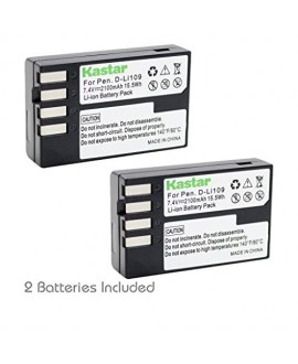 Kastar D-Li109 Battery (2-Pack) for Pentax D-Li109, DLI109 work with Pentax K-R, K-30, K-50, K-500, KR, K30, K50, K500 Cameras