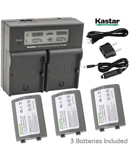 Kastar LCD Dual Smart Fast Charger & Battery (3 PACK) for Nikon EN-EL18, EN-EL18a, ENEL18, ENEL18a, MH-26, MH-26a, MH26 and Nikon D4, D4S, D5 Digital SLR Camera, Nikon MB-D12, D800, D800E Battery Grip