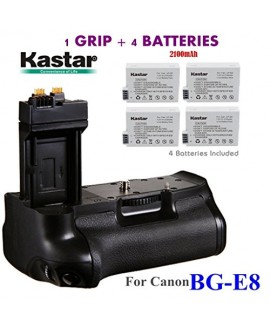 Kastar Pro Multi-Power Vertical Battery Grip (Replacement for BG-E8) + 4x LP-E8 Replacement Batteries for Canon EOS 550D EOS 600D EOS 650D EOS 700D and Rebel T2i T3i T4i T5i SLR Cameras