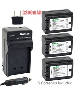 Kastar Battery (3-Pack) and Charger Kit for Panasonic VW-VBK180 work with Panasonic HC-V10, HC-V100, HC-V100M, HC-V500, HC-V500M, HC-V700, HC-V700M, HDC-HS60, HDC-HS80, HDC-SD40, HDC-SD60, HDC-SD80, HDC-SD90, HDC-SDX1H, HDC-TM40, HDC-TM41, HDC-TM55, HDC-T