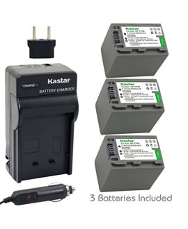 Kastar Battery (3-Pack) and Charger Kit for Sony NP-FP90, NP-FP91 work with Sony DCR-30, DVD92, DVD103, DVD105, DVD202, DVD203, DVD205, DVD304, DVD305, DVD403, DVD404, DVD405, DVD505, DVD602, DVD605, DVD653, DVD703, DVD705, DVD755, DVD803, DVD805, DVD905,