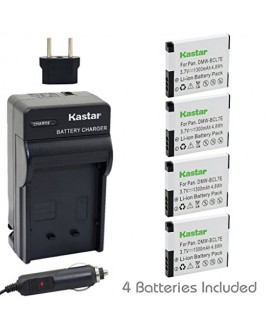 Kastar Battery (4-Pack) and Charger Kit for Panasonic DMW-BCL7E, DMW-BCL7 work with Panasonic Lumix DMC-F5, Panasonic Lumix DMC-FH10, Panasonic Lumix DMC-FS50, Panasonic Lumix DMC-SZ3, Panasonic Lumix DMC-SZ9, Panasonic Lumix DMC-XS1, Panasonic Lumix DMC-