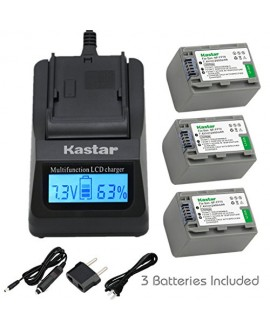Kastar Ultra Fast Charger(3X faster) Kit and Battery (3-Pack) for Sony NP-FP70 and Sony DCR-30, DVD92, DVD103, DVD105, DVD202, DVD203, DVD205, DVD304, DVD305, DVD403, DVD404, DVD405, DVD505, DVD602, DVD605, DVD653, DVD703, DVD705, DVD755, DVD803, DVD805,