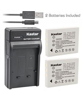 Kastar Battery (X2) & Slim USB Charger for Fujifilm NP-40, Panasonic CGA-S004, Kodak KLIC-7005, Samsung SLB-0737, SLB-0837, Sanyo NP-40, Pentax D-Li8, Benq Dli-102, Konica Minolta NP-1 and DE-992