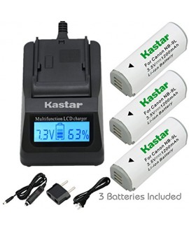 Kastar Ultra Fast Charger(3X faster) Kit and Battery (3-Pack) for Canon NB-9L and Canon PowerShot N, N2, SD4500, SD4500 IS, ELPH 510 HS, ELPH 520 HS, ELPH 530 HS Cameras