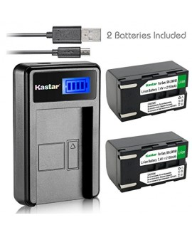 Kastar Battery (X2) & LCD Slim USB Charger for Samsung SB-LSM160 and SC-D351 VP-D351 VP-D351i VP-D352 VP-D352i VP-D353 VP-D353i VP-D354 VP-D354i VP-D647 VP-D651 VP-D653 VP-DC161 VP-DC161i DC163 DC163i