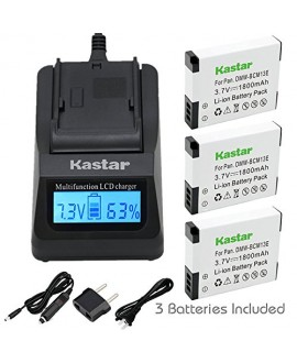 Kastar Fast Charger and Battery 3 Pack for Panasonic DMW-BCM13 DMW-BCM13PP & Lumix DMC-FT5 DMC-LZ40 DMC-TS5 DMC-TZ37 DMC-TZ40 DMC-TZ41 Lumix DMC-TZ55 DMC-TZ60 Lumix DMC-ZS27 DMC-ZS30 DMC-ZS35 DMC-ZS40