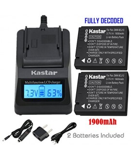Kastar Ultra Fast Charger(3X faster) Kit and Battery (2-Pack) for Panasonic DMW-BCJ13, DMW-BCJ13E, DMW-BCJ13PP, Leica BP-DC10, BP-DC10-E, BP-DC10-U work with Panasonic Lumix DMC-LX5 DMC-LX55 DMC-LX5K DMC-LX5W DMC-LX7 and Leica D-Lux 5, D-Lux 6 Cameras [Ov