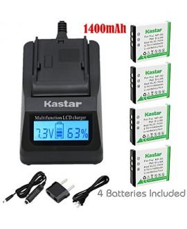 Kastar Ultra Fast Charger(3X faster) Kit and Battery (4-Pack) for Fujifilm NP-50, Kodak KLIC-7004, Pentax D-Li68 work with Fujifilm FinePix F50FD,F60FD,F70EXR,F75EXR,F80EXR,F85EXR,F100FD,F200EXR,F300EXR,F305EXR,F500EXR,F505EXR,F550EXR,F600EXR,F605EXR,F660