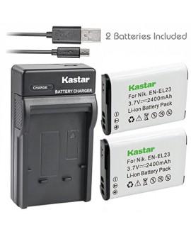 Kastar Battery (X2) & Slim USB Charger for Nikon EN-EL23, ENEL23 MH-67 and Nikon Coolpix P600, P610 S810c, P900 Digital Cameras