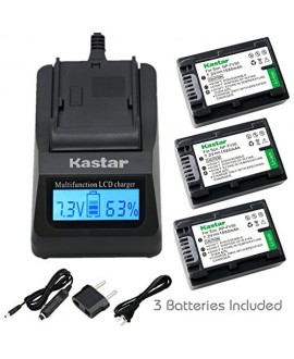 Kastar Ultra Fast Charger(3X faster) Kit and Battery (3-Pack) for Sony NP-FV30, NP-FV40, NP-FV50 work with Sony DCR-SR88, SX85, FDR-AX100, HDR-CX160, CX190, CX380, CX430V, CX520V, CX550V, CX560V, CX580V, CX700V, CX760V, CX900, HC9, PJ260V, PJ340, PJ380, P