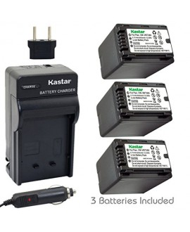 Kastar Battery (3-Pack) and Charger Kit for Panasonic VW-VBT380 and HC-V110 V130 V160 V180 HC-V201 V210 V250 HC-V380 HC-V510 V520 V550 HC-V710 V720 V750 V770 HC-VX870 HC-VX981 HC-W580 W850 HC-WXF991