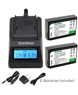 Kastar Ultra Fast Charger(3X faster) Kit and Battery (2-Pack) for Samsung BP1310, ED-BP1310 work for Samsung NX5, NX10, NX11, NX20, NX100 Cameras [Over 3x faster than a normal charger with portable USB charge function]