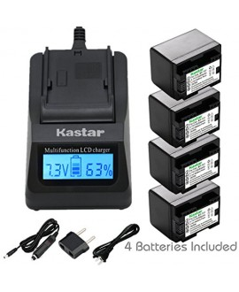 Kastar Ultra Fast Charger(3X faster) Kit and Battery (4-Pack) for Canon BP-727, BP-718, BP-709, CG-700 and Canon VIXIA HF M50, HF M52, HF M500, HF R30, HF R32, HF R40, HF R42, HF R50, HF R52, HF R60, HF R62, HF R300, HF R400, HF R500, HF R600 Cameras [Ove