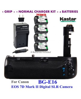 Kastar Pro Multi-Power Vertical Battery Grip (Replacement for BG-E16) + 4x LP-E6 Replacement Batteries + Charger Kit for Canon EOS 7D Mark II (Not for EOS 7D) Digital SLR Camera