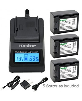 Kastar Fast Charger Kit and Battery (3-Pack) for IA-BP105R and Samsung HMX-F80 F90 HMX-F800 F900 SMX-F50 SMX-F53 SMX-F54 SMX-F500 SMX-F501 SMX-F530 SMX-F70 SMX-F700 HMX-H300 H303 H304 H305 HMX-H320