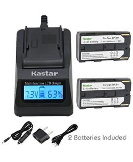 Kastar Fast Charger + BP911 Battery (2-Pack) for Canon BP-911, BP-911K, BP-914, BP-915 and Canon ES6500V, ES7000es, ES7000V, ES8000V, ES8100V, ES8200V, ES8400V, ES8600 Camera