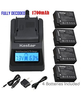 Kastar Ultra Fast Charger(3X faster) Kit and Battery (4-Pack) for Panasonic DMW-BLC12, DMW-BLC12E, DMW-BLC12PP, DE-A79 work with Panasonic Lumix DMC-FZ200, DMC-FZ1000, DMC-G5, DMC-G6, DMC-GH2 Cameras
