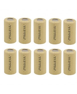 Kastar 10 Packs Sub C 2200mAh NiCd Flat Top Rechargeable Battery (No Tabs)