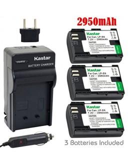 Kastar Battery (3-Pack) and Charger for Canon LP-E6, LC-E6 and EOS 60D, EOS 70D, EOS 5D II, EOS 5D III, EOS 5DS, EOS 5DS R, EOS 6D, EOS 7D Cameras, BG-E14, BG-E13, BG-E11, BG-E9, BG-E7, BG-E6 Grips