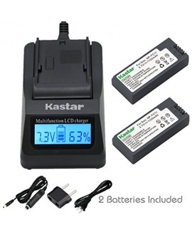 Kastar Fast Charger and Battery (2-Pack) for Sony NP-FC11 NP-FC10 and Cyber-shot DSC-P12 DSC-P10 DSC-P8/P8S/P8R DSC-V1 DSC-P7 DSC-P5 DSC-P9 DSC-P3 DSC-F77 DSC-P10S DSC-FX77 DSC-P2 DSC-P10L DSC-F77A