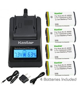 Kastar Ultra Fast Charger(3X faster) Kit and Battery (4-Pack) for Kodak KLIC-8000, K8000 work with Kodak Z1012 IS, Z1015 IS, Z1085 IS, Z1485 IS, Z612, Z712 IS, Z812 IS, Z8612 IS Cameras