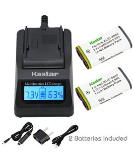 Kastar Ultra Fast Charger(3X faster) Kit and Battery (2-Pack) for Kodak KLIC-8000, K8000 work with Kodak Z1012 IS, Z1015 IS, Z1085 IS, Z1485 IS, Z612, Z712 IS, Z812 IS, Z8612 IS Cameras [Over 3x faster than a normal charger with portable USB charge functi