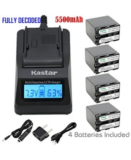 Kastar Ultra Fast Charger Kit and Battery (4-Pack) for Sony NP-QM91D NP-QM71D work with Sony CCD-TR108 TR208 TR408 TR748 TRV106 TRV107 TRV108 TRV116 TRV118 TRV126 TRV128 TRV138 TRV208 TRV218 TRV250 TRV255 TRV260 TRV265 TRV270 TRV280 TRV285 TRV300 TRV325 T