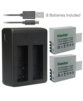 Kastar Battery (X2) + Dual USB Charger for SJ4000 SJ5000 SJ6000 SJ7000 SJ8000 and SJCAM GeekPro ABLEGRID Waterproof Sports HD Action Camera Camcorder