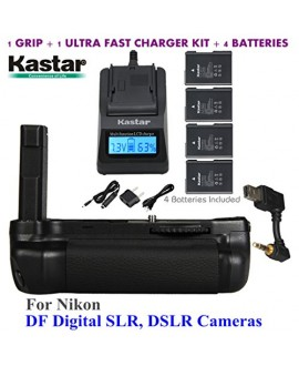 Kastar Pro Multi-Power Vertical Battery Grip + 4x EN-EL14 EN-EL4a Replacement Batteries + Ultra Fast Charger Kit for Nikon DF Digital SLR, DSLR Cameras