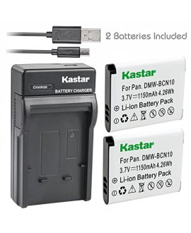 Kastar Battery (X2) & Slim USB Charger for Panasonic DMW-BCN10, DMW-BCN10E, DMW-BCN10PP work for Panasonic Lumix DMC-LF1, Lumix DMC-LF1K, Lumix DMC-LF1W Digital Cameras
